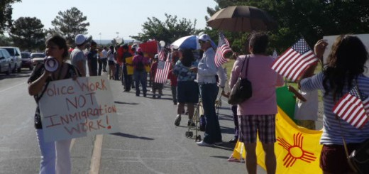 Members of BNHR in Southern New Mexico march on May 16, 2012, in the small border town of Anthony, NM. Three hundred people came to the march and signed a petition in support of a resolution to keep Anthony police from acting as immigration agents.